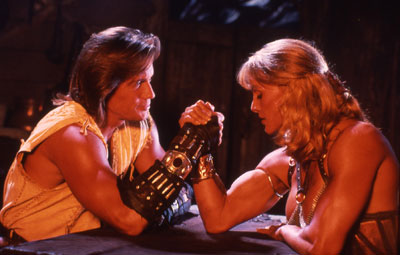 Cory, as Atalanta, the blacksmith on the TV show Hercules (w Kevin Sorbo)