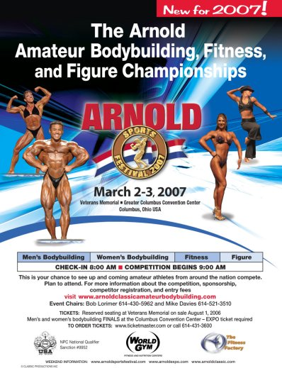From 2007 Arnold Sports Festival includes amateur Bodybuilding, Fitness, and Figure championships