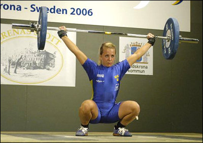 European Youth Championships 2006. Anna Halldén snatches 60 kilograms.