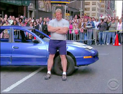 Phil Pfister, World's Strongest Man, flips car on The Late Show With David Letterman