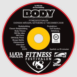 Framsidan på DVDn från Fitnessfestivalen 2008